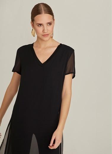 NGSTYLE Şifon V Yaka Bluz Siyah
